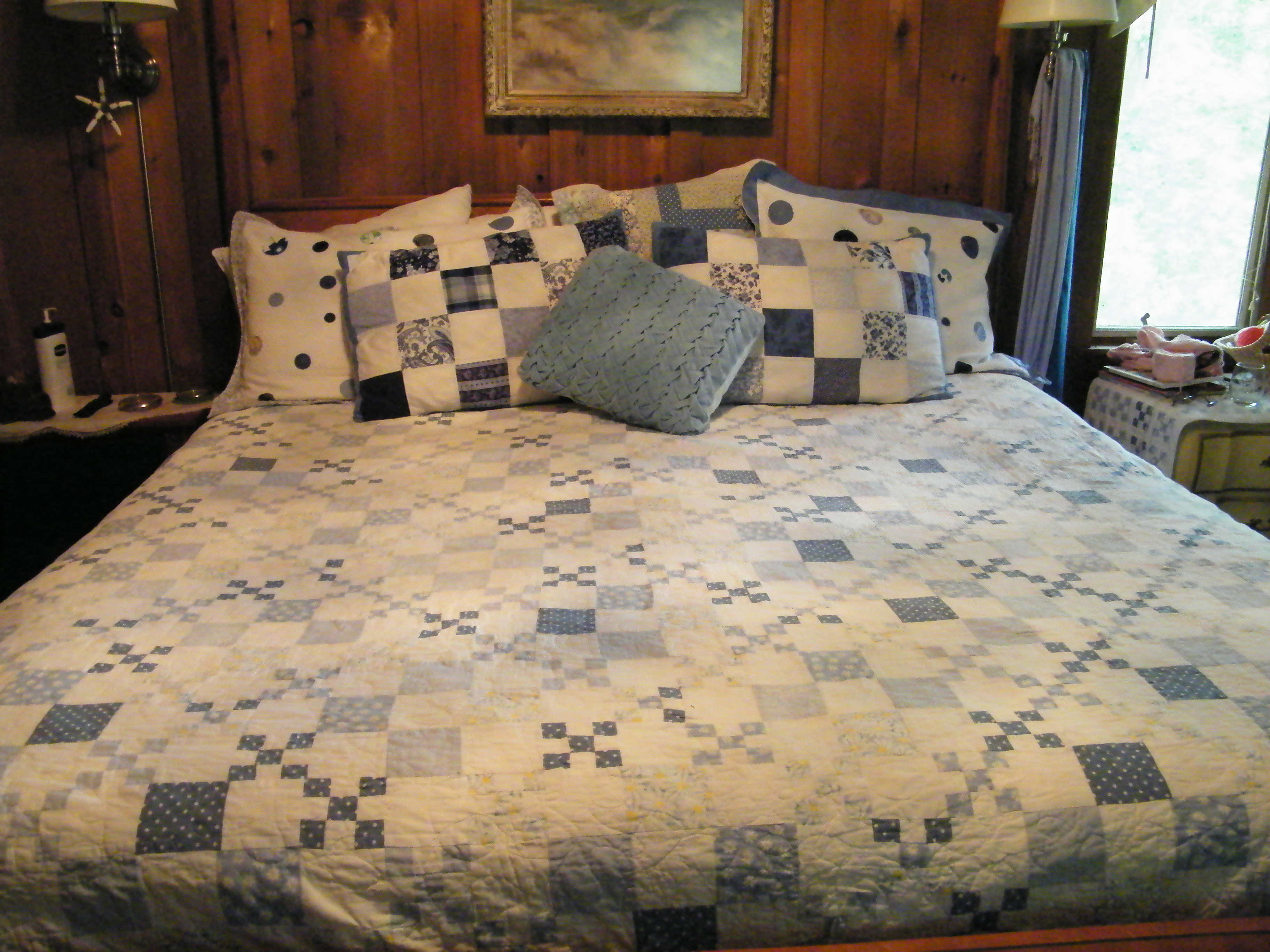 i wanted to show some closeup shots of my bed pillows the blue and white square quilted shams are without a flange the back is closed via an envelope